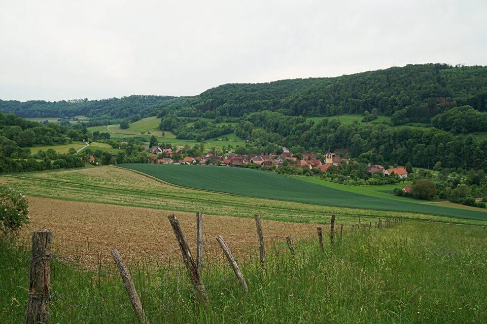 Blick auf Baechlingen an der Jagst