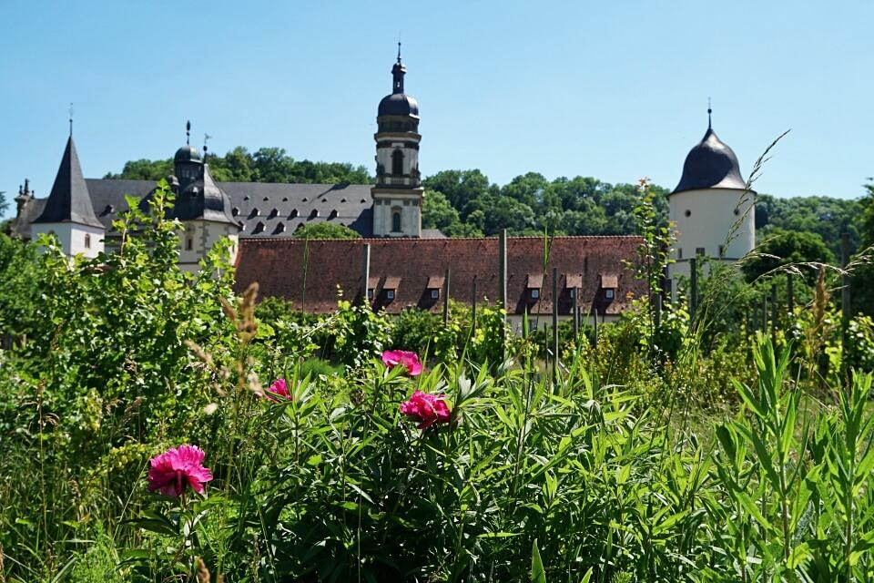 Blick vom Abteigarten auf das Kloster Schoental