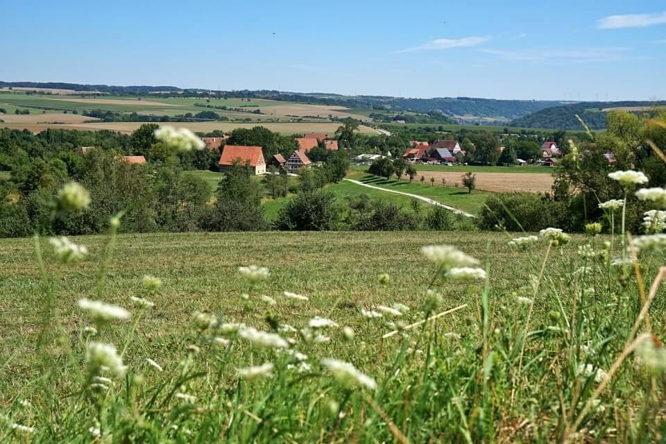 Ausblick Freiluftmuseum Wackershofen und Hohenlohe