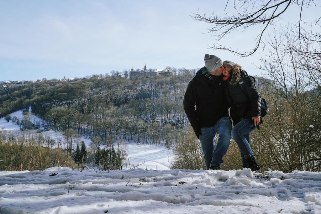 Lisa Metzger und Marco Metzger beim Wandern im Jagsttal in Hohenlohe