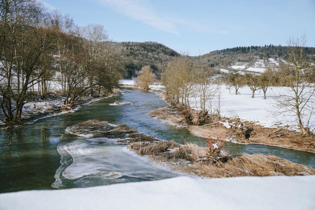Blick auf die Jagst in Oberregenbach