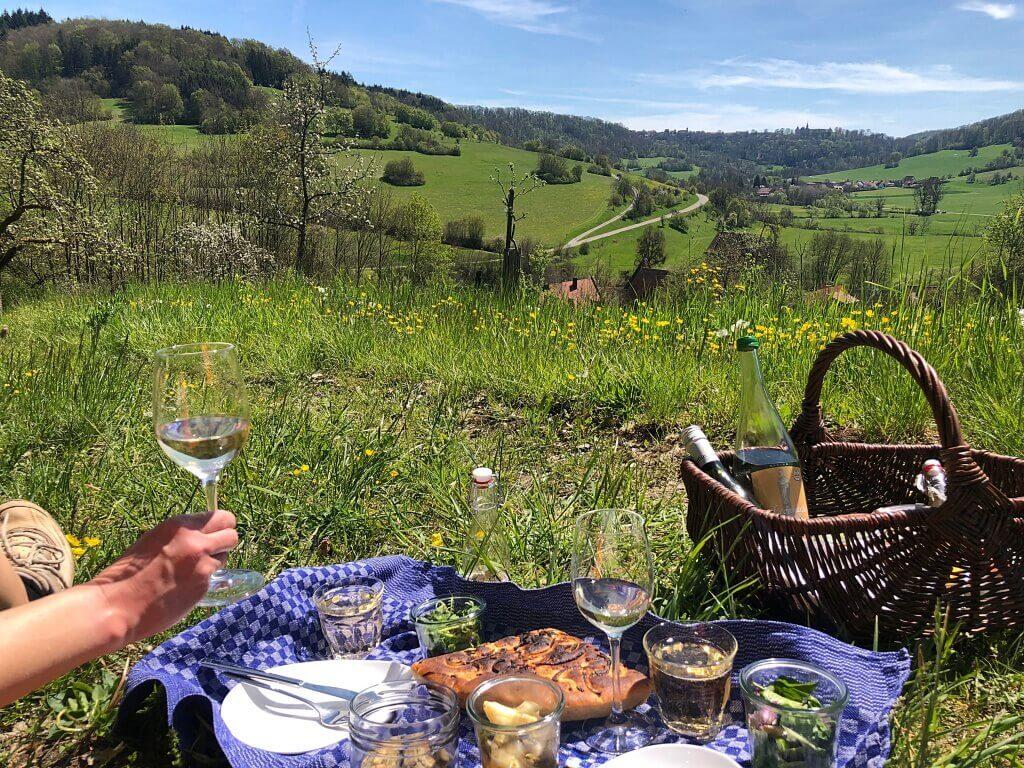 Picknick in Unterregenbach im Jagsttal in Hohenlohe